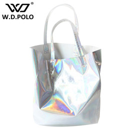 Wholesale ladies hand mirror - WDPOLO Mirror Pu leather Laser hand bags hot selling girl beach bags lady tote in high capacity fashion new design chic M1748