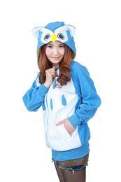 Suéter búho online-Sudaderas con capucha adultos unisex Animal Costume Pullover con cremallera completa con bolsillos Owl