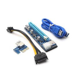 Wholesale Pci E Power Cable - Ver008C PCI-E PCI Express 1x To 16x riser Card usb3.0 Cable SATA Molex power cable PCIE Riser for bitcoin mining BTC Graphics card free DHL