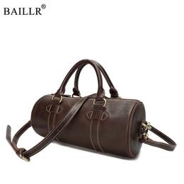 0d6daddb444a New Fashion Classic Men Cowhide Genuine Leather Handbag Circular Messenger  Bags Travel Barrel Shape CrossBody Retro Shoulder Bag