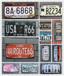 Wholesale Cars Route - Retro License Plate Metal USA Classic Historic Route 66 Retro Vintage Red Auto License Plate Tin Sign Pub Restaurant Home Decoration