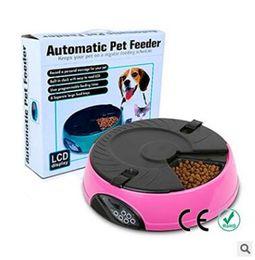 2019 affichage du temps Distributeur de repas à 6 plateaux Distributeur automatique de nourriture pour animaux Smart LCD Display Dog Distributeur de nourriture pour chat promotion affichage du temps