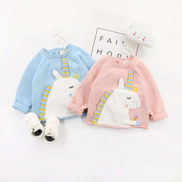 Wholesale Cute Long Sweaters - Cute Unicorn Baby Sweaters Pullover Long Sleeve Girls Boys Clothes Spring Kids Pullovers 18021001