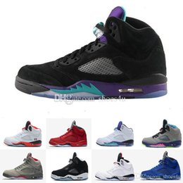 Wholesale Bel Sports - 5 white cement red blue suede women men camo basketball shoes Oreo bel metallic black white grape 5s sports shoes sneakers