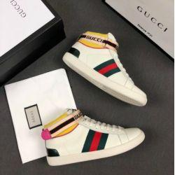 резиновая балерина Скидка MEN STRIPE RUBBER SOLE HIGH-TOP SNEAKER TRAINER WHITE Pumps Loafers Ballerina Flats Espadrilles Wedges Кроссовки Boots Booties