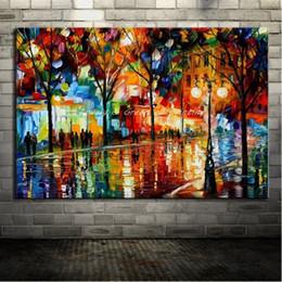 Handpainted Sokak Manzarası Sanat Yağlıboya Tuval Üzerine, Modern Ev Dekor Duvar Sanatı Resim Palet Bıçağı Manzara Sanat Çerçeve Seçenekleri l87 nereden