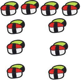 Patchs brodés bon marché en Ligne-10 PCS Delicious Sushi Patches Stripe Couture Brodé pour Vêtements Cheap Hot Melt Adhésif Costume Patch pour Vêtements Couture Patch Artisanat