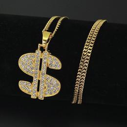colliers signe dollar Promotion Mens Hip Hop Collier Bijoux New Fashion Gold Iced Out Dollar Sign $ Collier pendentif pour les hommes