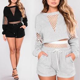 Malla sudaderas online-Traje de verano de las mujeres Sexy Mesh Hollow Pullover con pantalones cortos Mujeres Casual sudadera chándal S-L tamaño