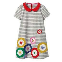 Wholesale dress children - Summer Baby Girls Dress Rainbow Printed Children Clothing Toddler Kids Dresses Cotton Girl Enfant Costume Children Clothing