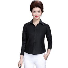 Wholesale Woman White Plain Shirt - WAEOLSA Chinese Women Basic Shirt White Black Red Plain Business Casual Tops Office Lady Shirts Mature Lady Turn Down Collar Top
