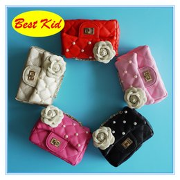 Wholesale Red Flower Purse - BestKid DHL Free Shipping! Children's Flower Pearl Shoulder Bags Kids Small Leather Purse Girls Mini Wallets for party Toddler new bag BK022