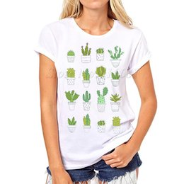 Wholesale Vintage Tee Shirt Designs - Wholesale-Women Summer Novelty cactus Design T shirt vintage plant Printed Tops Hot Sales Tee Shirts