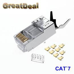 Wholesale Connector Crimp - 10 50 100pcs RJ45 Connector Cat6a Cat7 RJ45 plug shielded FTP 8P8C Network Crimp Connectors HY1530