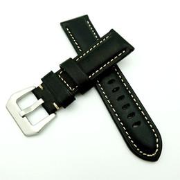 Correa de reloj pam online-Oferta especial 24mm Negro Reemplazar PAM PAM111 Bandas de reloj de cuero genuino Correa PAM441 44mm Estuche con palabra