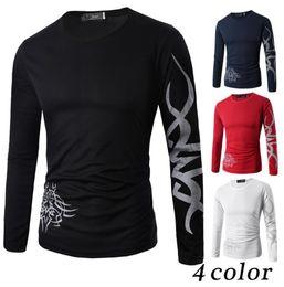 Wholesale Long Sleeves Tattoo Clothing - men Tattoo Dragon Print T Shirt Long Sleeve Clothing Casual Slim Fit O-neckTee men fashion casual T Shirt KKA4227