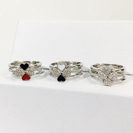2019 оптовые ювелирные изделия из алабамы Из нержавеющей стали женской 3 шт кольца Установить Clover Женщина Сладкого Four Leaf Ring Три цвета сердце кольца для женщин