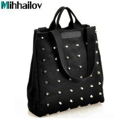bolsos de mano damas negro Rebajas Moda Remache Bolso de Las Mujeres Bolso de Lona Ocasional Bolsas de Hombro Femenino Negro Señoras Top-Handle Hand Bag Sac A Main XS-439