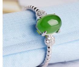 Canada incrustation de jade naturel 925 bague en argent pour femme format ouvert Offre