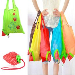 Wholesale Strawberry Reusable Tote - Eco Storage Handbag Reusable Strawberry Foldable Shopping Bags Foldable Eco Storage Handbag Nylon Reusable Bag Tote KKA3833
