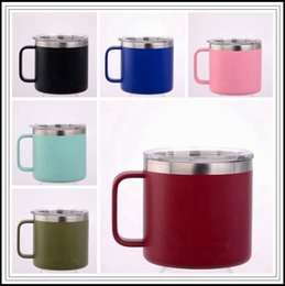 Wholesale metal lids - 6 Colors 14oz Kid Milk Cup Stainless Steel Cup With Lid Double Wall Vacuum Insulated Mugs Metal Wine Glass Hydration Gear CCA9562 50pcs