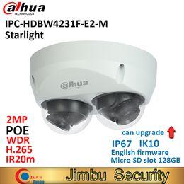 2019 domo de cámara ip 2mp dahua memoria de la cámara IP Dahua luz de las estrellas de la bóveda IPC-HDBW4231F-E2-M 2x 2MP POE H.265H.264 IR20m IK10 IP67 Micro SD 128G Detección Inteligente domo de cámara ip 2mp dahua baratos