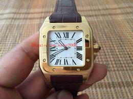 Reloj de lujo de alta calidad W20108Y1 33MM bandas de cuero correa 18k oro amarillo Asia Movimiento reloj automático para hombre Relojes desde fabricantes