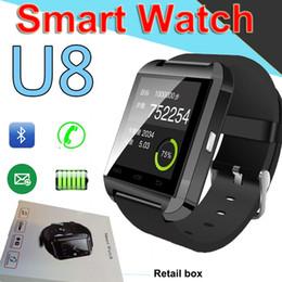 Salida de samsung online-Bluetooth U8 SmartWatch Relojes de pulsera Pantalla táctil para iPhone7 Samsung Teléfono inteligente Android Reloj con RetailFactory Outlet XCTU93
