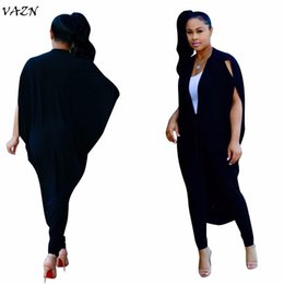 Wholesale Jumpsuit Slits - VAZN Top Quality High Design 2018 Women Jumpsuits Solid Novelty Slit Batwing Sleeve Lace Up Women Casual Loose Rompers CM168
