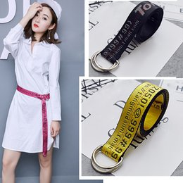 Wholesale Casual Wide Belts - FO yellow embroidery Korean version of the wild decorative wide belt boys and girls fashion belt Bicyclic canvas spot D-ring free shipping