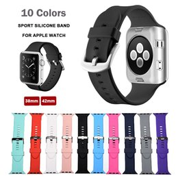 Wholesale Red Wrist Strap - Sport Silicone Watch Strap for Apple Watch Band 42 Mm 38 Rubber Bracelet Wrist Band Men for iwatch 1 2 with Adapter