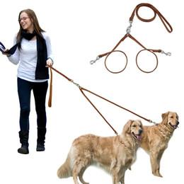 Wholesale double dog - Leather Double Dog Leash Multiple Pet Leading & Double Walking Two Dog Leashes Set for 2 Dogs Medium Large Breeds