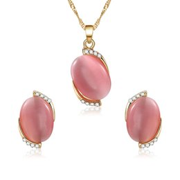 pink gemstones earrings Coupons - Fashion Womens Fancy Natyral Pink Gemstone Stone Necklace and Earring Jewelry Set Metal Chain Neckalce for Gift