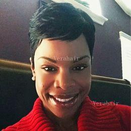 2019 cabelo humano muito curto Novo cabelo Humano bebê corte perucas para As Mulheres Negras Peruca Dianteira Do Laço Pixie Muito Curto Completa perucas de Cabelo Humano curto perucas cabelo humano muito curto barato