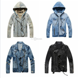 Wholesale Luxury Men Winter Jacket - Hot Sale Luxury Designer Jacket Men Slim Warm Denim Motorcycle Biker Winter Jackets Coat Masculina Plus Size M-XXXL Windbreaker