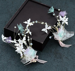 Wholesale wedding bridesmaid hand accessories - 2018 new hand-made butterfly headwear hoop wedding dress headwear Wedding Bridesmaid hair accessories female