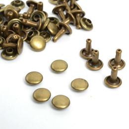 Wholesale rivet brass - 6mm Leather Crafts Antique Brass Double Cap Sewing Rivet Punk Bag Belt Bracellet Apparel Garment Sewing Rivet 100pcs