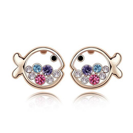 Wholesale make rhinestone jewelry - Fashion Sweet Fish Stud Earrings Made With Genuine Austrian Crystals Brincos Jewelry For Woman Cute Pendientes Free Shipping