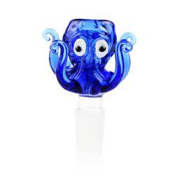 Cabeça de polvo on-line-Handmade Octopus Cachimbo de vidro Bong bacia Heads 14 milímetros 18 milímetros masculino Joint Pieces Azul Verde Parts Cor Bowls Venda Tobacco Caliane Oil Rig prego