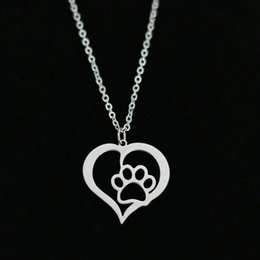 Wholesale Footprints Pendant - Hollow Pet Paw Footprint Pendant Necklace Heart-shaped Stainless Steel Gold Lover Link Chain For Women Charm Jewelry Wholesale