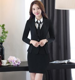 Wholesale Work Jacket Dress - New Arrival Spring Autumn Professional Work Suits With Jackets And Dress Formal Uniform Outfits Blazers Ladies Office Sets