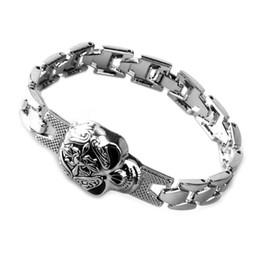 Wholesale Bracelets For America - Europe and America Hot Skull Bracelet Alloy Silver Plated Punk Bracelets & Bangles Jewelry For Men Gift
