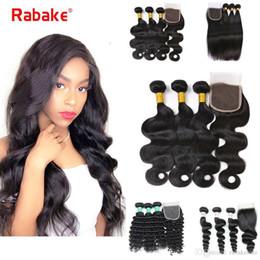 tissage indien de cheveux raides Promotion Bundles de vague profonde malaisienne avec fermeture Rabake Raw Indian Vierge Cheveux 3 Bundles Silky Straight Body Wave Armure de cheveux humains avec fermeture