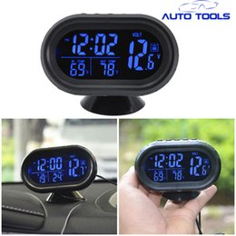 Wholesale Thermometer Dhl - 20pcs lot via DHL 4 in 1 Digital Car clock Thermometer Voltmeter Voltage Meter Tester Monitor Noctilucous Clock Temperature kit