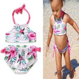 Wholesale Toddler Girls Tankini Swimsuits - kids girls Swimwear Flower printed Toddler Baby summer beachwear Swimsuit Bikini Tankini Swimwear Beachwear Bikini Set