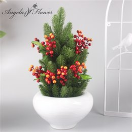 Wholesale Artificial Fruit For Home Decor - Wholesale-Artificial flower Christmas pine needles and fruit the new type fake plant wedding decoration for home Christmas essential decor