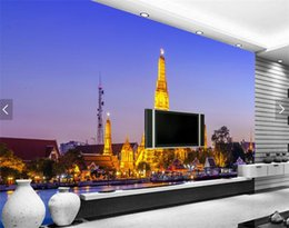 Wholesale Building Murals - Custom South Asian Wallpaper Mural Thailand Gold Build Living Room Bedroom TV Background Wall papers Home Decor 3d Wall Murals