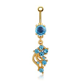 Wholesale gold encrusted - Women Beauty Crystal Leaf Encrusted Flower Belly Button Ring Body Piercing Jewelry