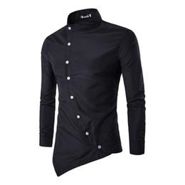 Personalisierte tasten online-Camisas personalisierte schräge Knopf-unregelmäßiges beiläufiges Hemd 2018 Heiße neue Mann-langärmliges dünnes Hemd-Mann-Hemd M-2XL beiläufige für Männer 4 Farben
