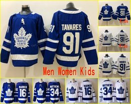 Wholesale cheap jerseys wholesalers - New 91 John Tavares Jerseys 100% stitched Men Women Youth Toronto Maple Leafs 16 Mitch Marner 34 Auston Matthews Hockey Kids Cheap sales